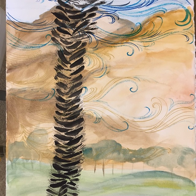 #day12 / #100Daysofh2ocolorarabesque #the100dayproject, now that I'm in the #desert, the #landscape is changing. So r the #tree in my #arabesque. Can't wait for the first day of #Coachella2015 #blog #music #painting #inkonpaper #art hope u get here soon @emarkchi