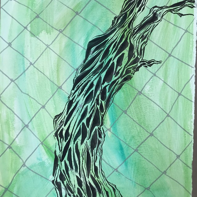 Walking around #SF I c #trees all around me that I want to put down on paper. #impressions. Day 10/ #100Daysofh2ocolorarabesque #The100DayProject #blog #arabesque #inkonpaper #painting