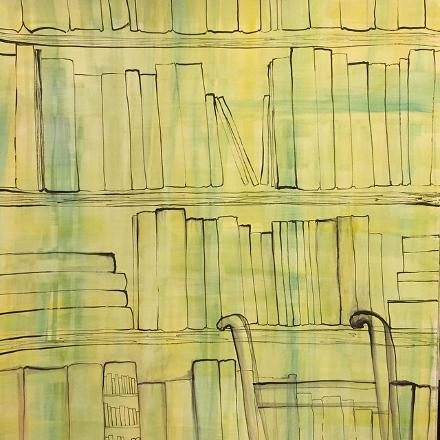 #books... One day I shall have a #library that requires a #ladder to climb up/down from. 68/ #the100dayproject #100Daysofh2ocolorarabesque #blog #SF #SF_insta #ink #watercolor. Today I was at the #contemporaryjewishmuseum and there was the exhibit and talk about sharing of books.