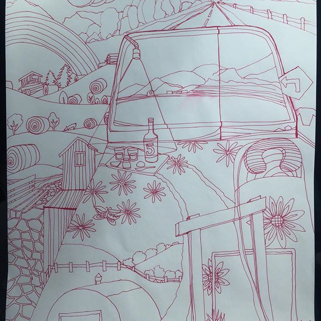 Happy 5th @quirkmire , this is a #drawing of our day road tripping thru #montana, not easy to keep steady lines in a moving #vehicle 128? #100daysofdrawingarabesque #100daysofdrawings #the100dayproject #blog