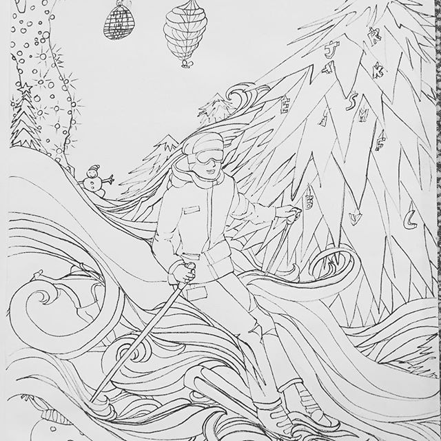 Dreaming of #winter on the slopes. #drawing #drawing365 174/ #the100dayproject #100daysofdrawingarabesque #100daysofdrawing #newportbeach #blog #inktober2015 #coloringbook project #ink #pigmamicron