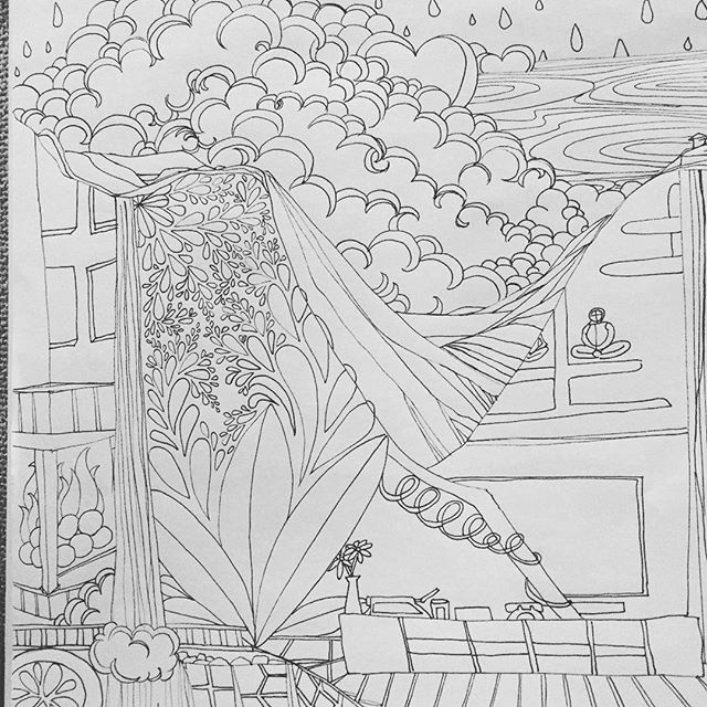 Last night in #newportbeach and then I'm off to #nyc! The fluffy #clouds today was so thick and beautiful to look at over the hills. It #rained for a bit and cleared up the air. #drawing 156/ #the100dayproject #100daysofdrawing #100daysofdrawingarabesque #oc #blog #ink #inkart #pigmamicron #pen #coloringbook