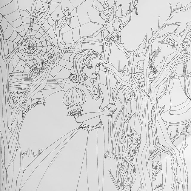 Happy #halloween2015 #drawing 176! Inspired by the #snowwhite journal gift #inktober2015 #the100dayproject #100daysofdrawingarabesque #100daysofdrawing #newportbeach #blog #halloween