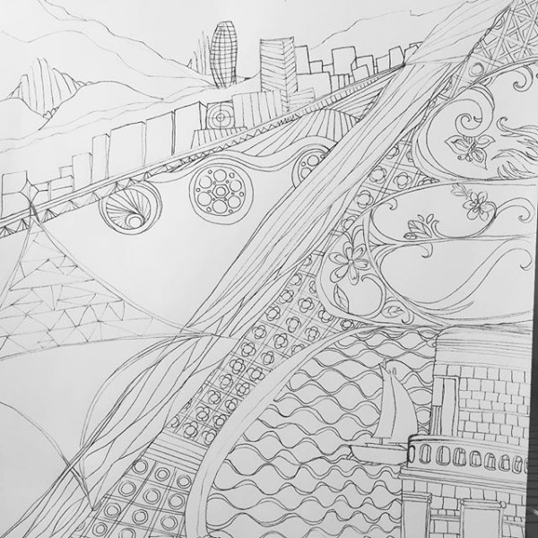 It's Sunday here in #BCN and I'm just posting the #drawing 191 from 2 days ago. So much to see and absorb. #blog #100daysofdrawing #100daysofdrawingarabesque #the100dayproject View from hotel and from the area