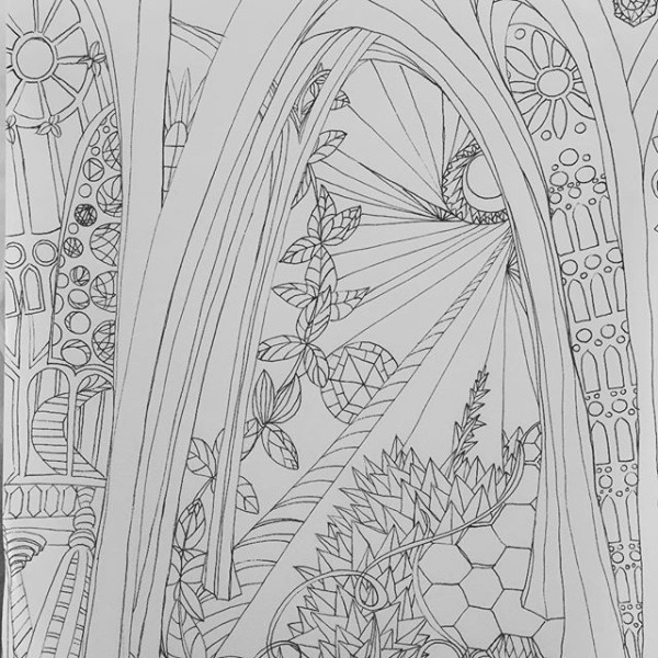 Skipping a day to capture this morning's visit to #gaudi's #sagradafamilia. Early morning is the best time to b here. So quiet n inspirational. This #drawing 192 is my #impression of his space. I now know my #art is highly influenced by his work... Must b from my previous visits to #BCN #the100dayproject #100daysofdrawingarabesque #100daysofdrawing #blog #workinprogress #WorldofArtists