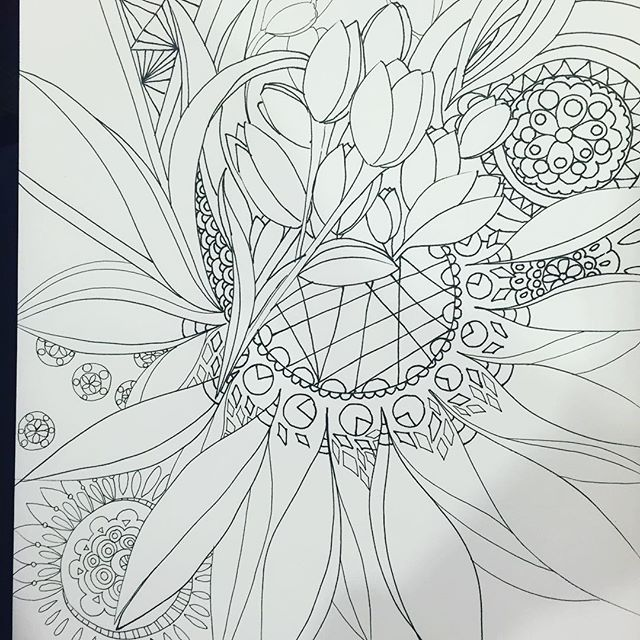#workinprogress, while waiting around for my flight from #Amsterdam to #Tpe. I'm #drawing #tulip inspired #patterns. Thanks to @sander for stopping by the airport to spend time with me. Made my long day of #travel better This is 196? #the100dayproject #100daysofdrawing #100daysofdrawingarabesque #blog