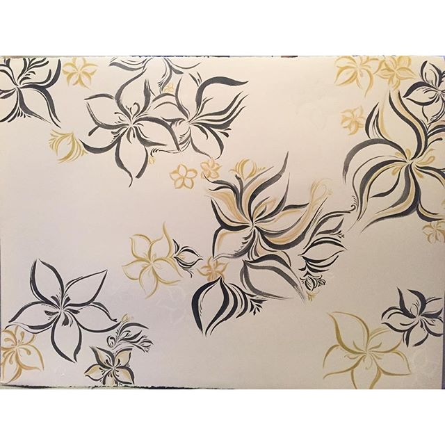 Today's #calligraphy #painting / #drawing 229 is done I think. #flowers on #paper. Too bad the white isn't showing up in the photo tho #blog #creativebug #sf