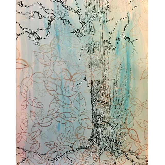 Now that I'm back in #bayarea #sf, I get to finish my larger sized #painting #drawing 233 I had started working on b4 my #travels. My #impression of a #tree I walk by all the time. This was made with #inkpens #brushpens & expired #makeup ( #eyeshadows) & #acrylic washes. #drawing365 #drawingmeditation #blog