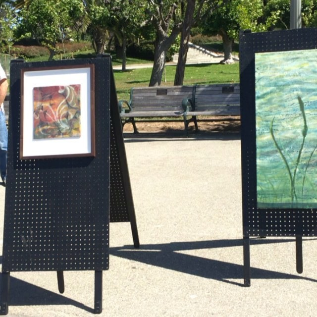 All set up and ready for my first #artexhibition in front of the #deyoung museum with #artistguild of #SF #blog