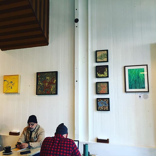 My #artwork has been installed at the #cafe thanks to @delsonics for her input and hunter for helping us nail where we can't reach. Looks good :) #sfos2016 #sfpulse #sf #blog #hubcrawl2016 Nice to meet u too @lara.buelow can't wait for the reception with u on October 12th #blog #artseren